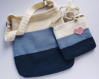 Knitted summer bag for women Handmade Blue white color Tricolor Сloses zip Big and small Family look For mom and daughter Summer Heart Love