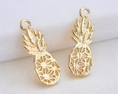 20pcs Real Gold Plated Pineapple Pendant,Gold Plated Brass Charms for Earring Jewelry Making,Lead Nickel Free