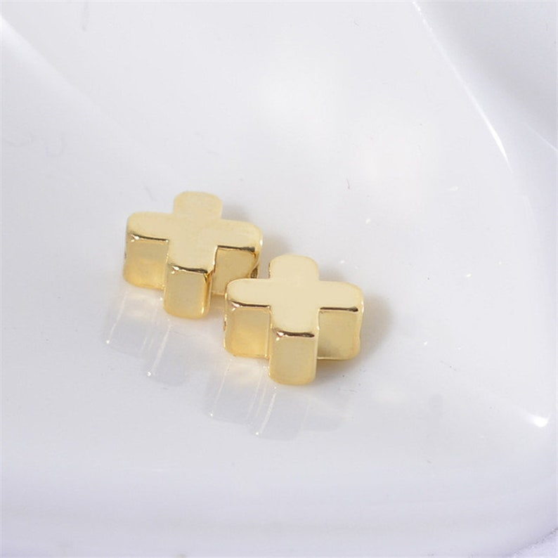 Wholesale 100pcs 24K Real Gold Plated Brass Cross Beads Bracelet Beads,Polished Gold Plated Brass Diy Jewelry Accessories