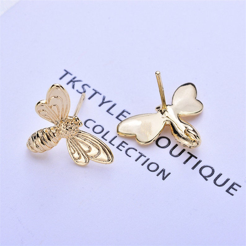 20pcs Real Gold Plated Bee Earring Stud,Animal Earrings Posts with Loop,Diy Brass Earring Attachment Jewelry Finding Wholesale