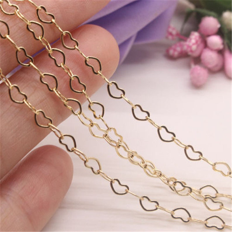 2 Meters Real Gold Plated Brass Heart Link Chains,Gold Plated Chain,Heart Link Chain Jewelry Finding Wholesale,Nickel Lead Free