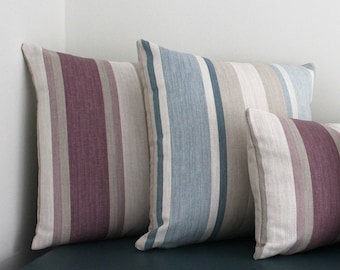 Handmade cushion covers in Laura Ashley awning stripe seaspray or grape colour choice. Two sizes available.