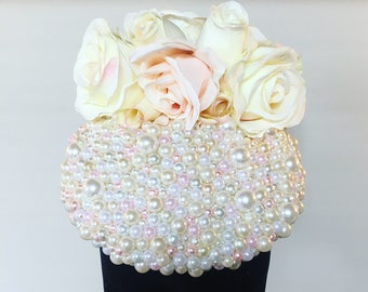 Cream and Pale Pink Rose and Pearl Fascinator