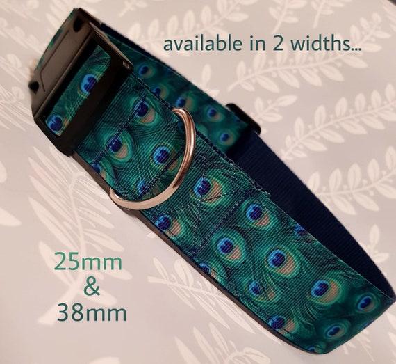 """Magnifique collier fait main «plume de paon» design disponible en 1""""(25mm) et largeur 1,5 po (38mm)"""