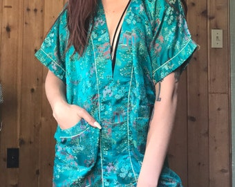 70s Teal Floral Kimono with Pockets