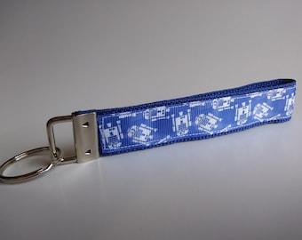 Space Robot Wristlet Key Chain, Wristlet, Key Chain, Key Fob