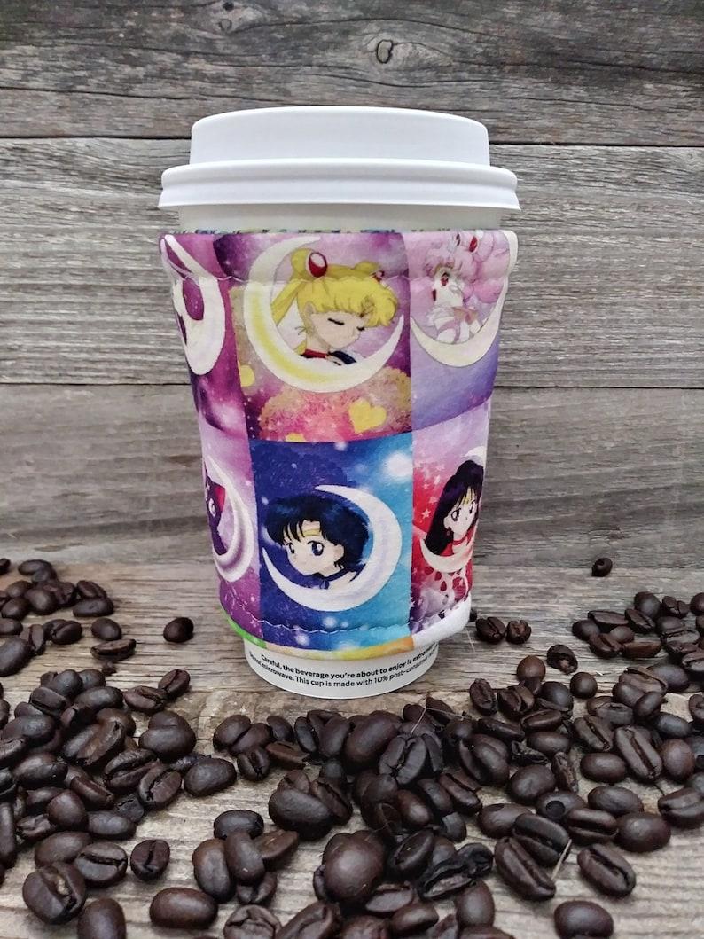 Sailor Moon Iced Coffee Cozy Anime Manga Coffee Cozy Geek Gift Venti Trenta Grande Iced or Hot Coffee Sleeve Magical Girl Coffee Accessory