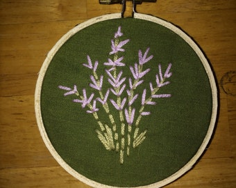 "3inch hand embroidered wall hanging ""lavender"""