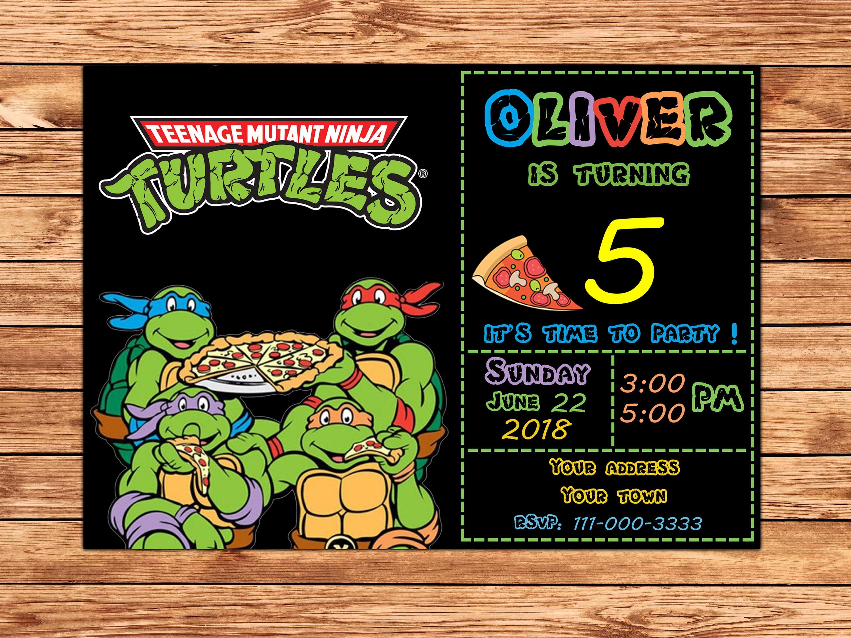 Ninja Turtles Invitation Ninja Turtles Party Tmnt Etsy