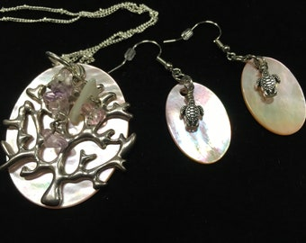 Pink coral and sea turtle necklace and earring set 30 inch