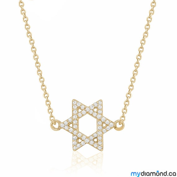 Star of David Diamond Pendant Necklace Magen David 0.20ct 14K Gold Necklace Unique David Star Jewelry Fine Jewelry Summer Trends 2019