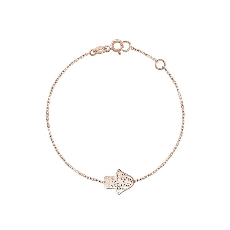 Solid Gold Hamsa Bracelet Bad Luck Protective Hamsa Layered Chain Bracelet Minimal Modern Protection Jewelry for Good Luck