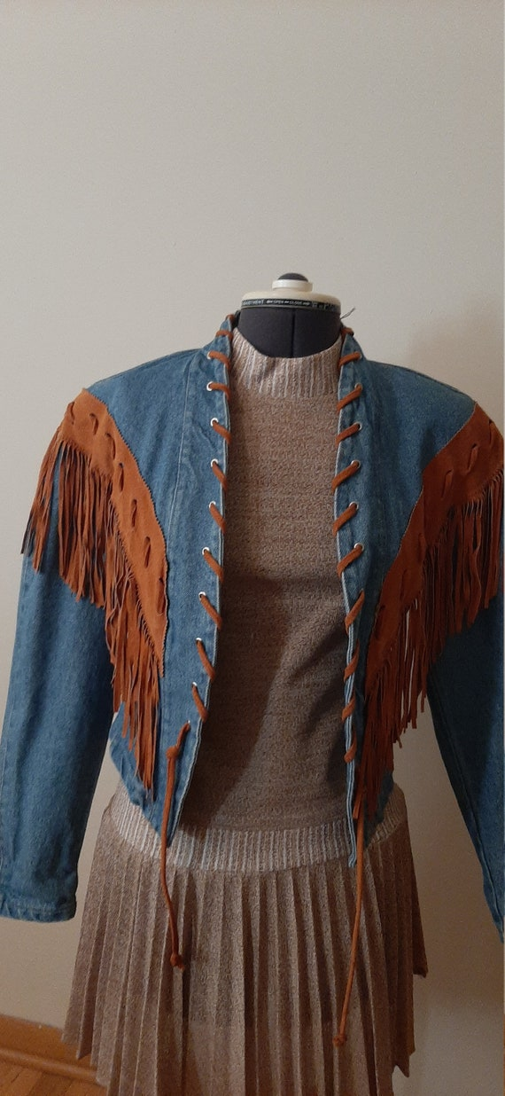 Frontier Collection Denim Fringe Jacket, Denim Jac
