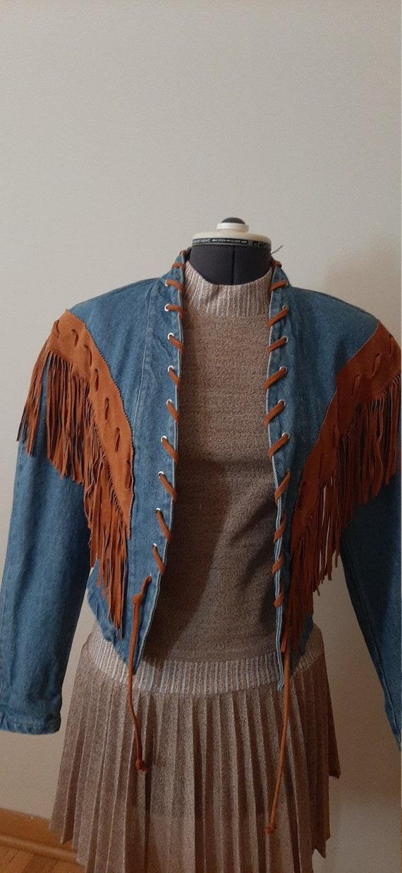 Frontier Collection Denim Fringe Jacket, Denim Jac