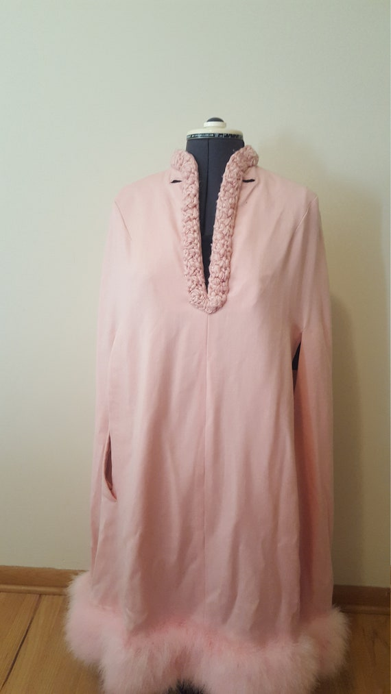 Pink Wool Long Cape 1940's,Hugo Rocha design,Vinta