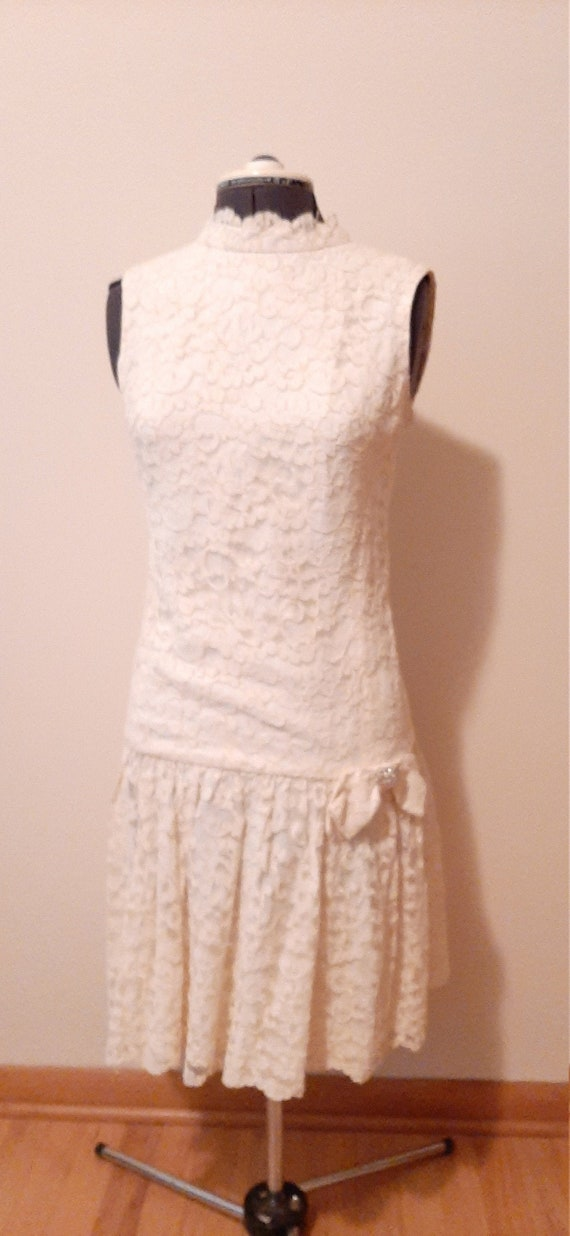 Pale Yellow Dress, Lace Dress, 50's Dress, Vintage