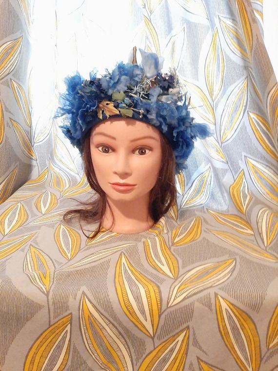 Elsa Schiaparelli Hat, Vintage Hat, Flower Hat ,Bl