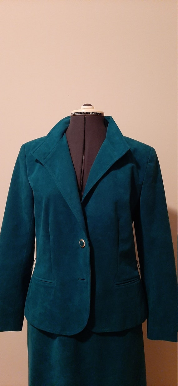 Green Ultra Suede Suit, 1980s Suede Suit