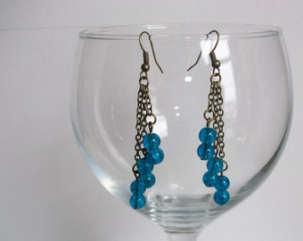 Turquoise glass and bronze chain drop earrings