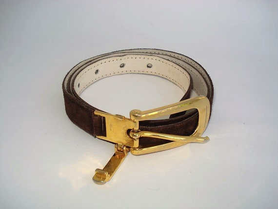 Vintage Brown Leather Belt 35-Suede Belt w Metal Gold Buckle-Solid Brass Buckle-Women Leather Belts-Made in Italy-ca.1960s