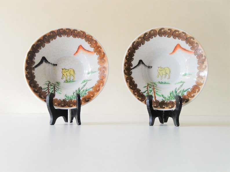 ca.1950s Vintage Small Ceramic Plates Set of 2 Made in Japan Jewelry Ring Dishes Soy Dishes-Trinket Dishes Hand Painted