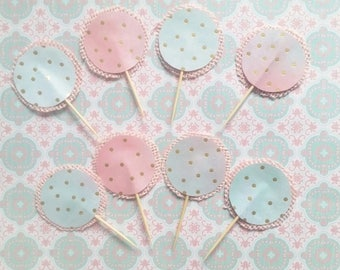 8 Cupcake Toppers in Watermelon  Ombre Colours with Gold Polka Dots Birthday Party Cake Decor