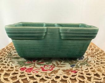 Vintage USA Green Pottery Window Box Planter