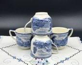 Set of 4 Flat Top Demitasse Cups from the 1950s - Johnson Brothers Old Britain Castles Blue