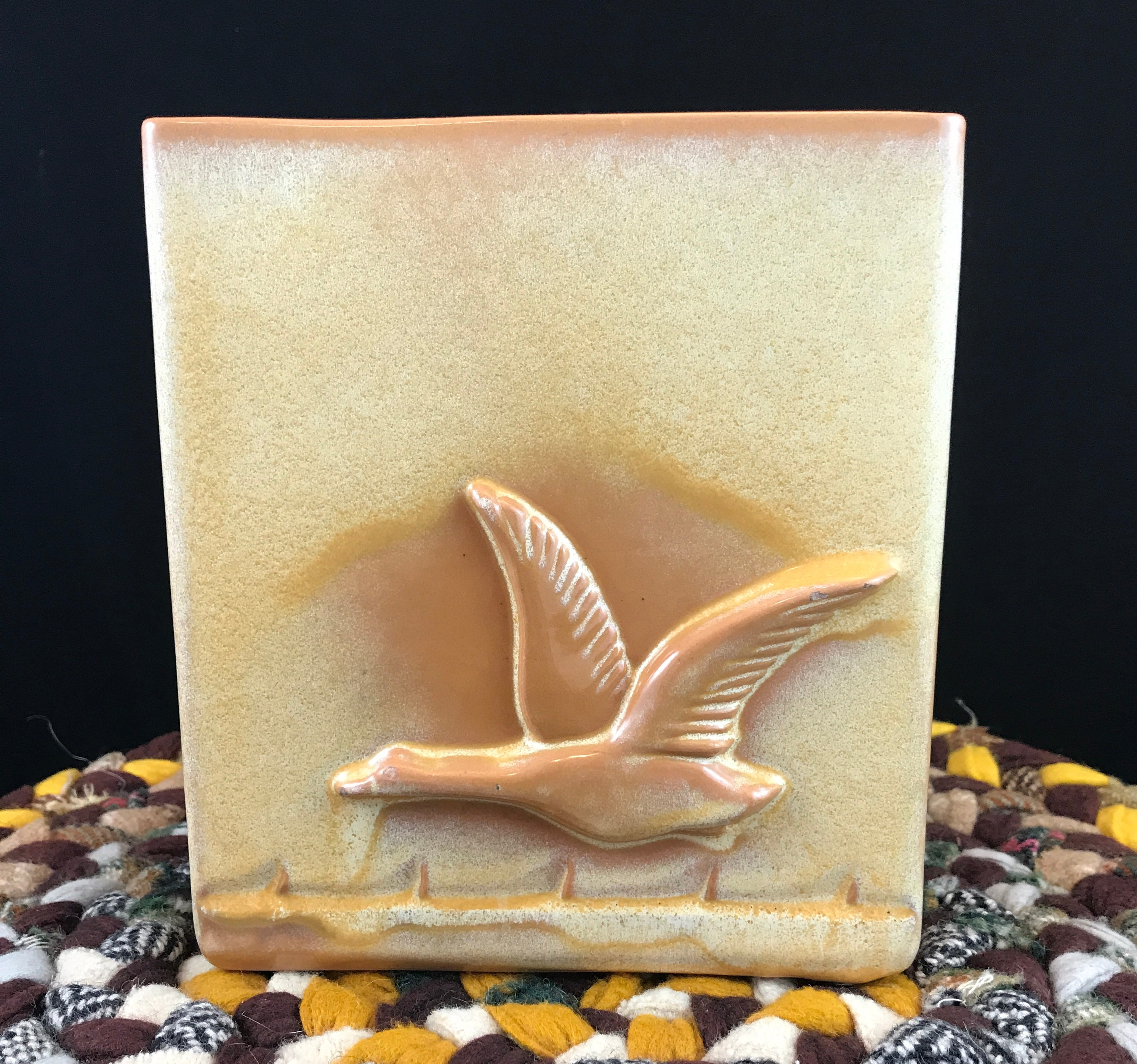 Gorgeous Art Deco Frankoma 60B Flying Goose Vase