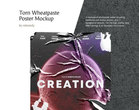 a82cf0f9 Torn Wheatpaste Poster Mockup Creased Canvas Mock Up Paper ...