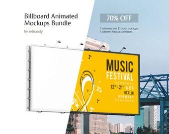 Download Free Billboard Animated Mockups Bundle (Bilboard Mock up, Poster Mockup, Cityboard Mockup) PSD Template