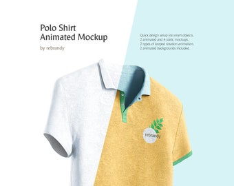 Download Free Polo Shirt Animated Mockup (T-shirt Mock Up, Shirt Mock-up, Polo Mockup, Tshirt Mock) PSD Template