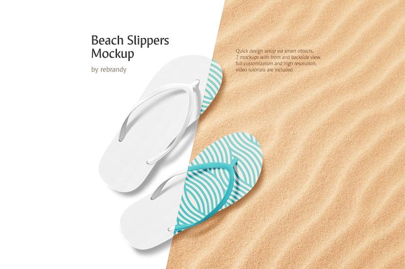 e337046f6da75 Beach Slippers Mockup (Flip Flops Mock up, Sandals Mock-up, Pool Shoes  Mockup)