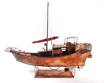Handcrafted Copper Chinese Junk Replica