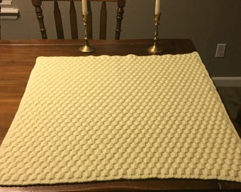 Yellow Checkered Stitch Baby Blanket