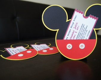 10 Mickey Mouse Invitations - Mickey silhouette invitation - Mickey party Invitation