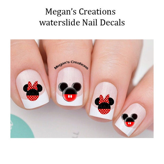 Mickey And Minnie Mouse Head Nail Art Decals Etsy