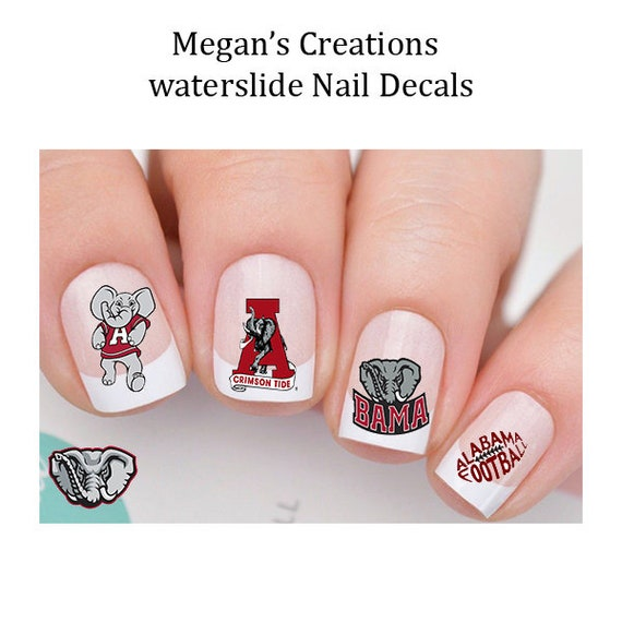 image 0 - Alabama Crimson Tide Nail Decals Nail Art Decals Etsy