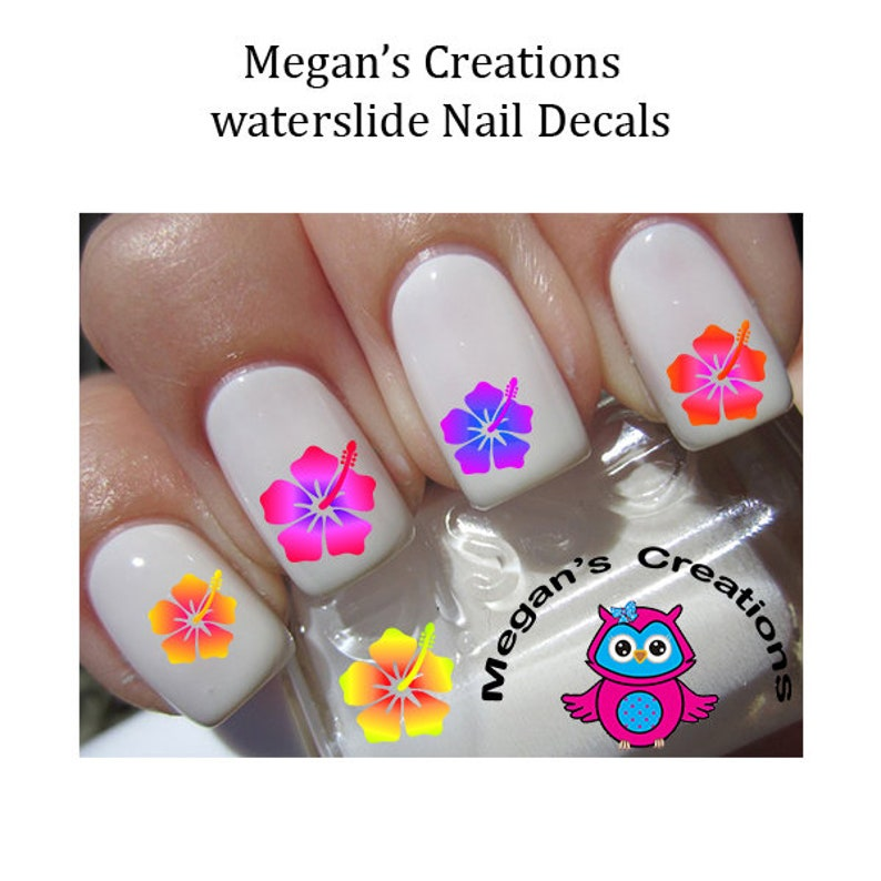 Hibiscus Flower Nail Art Decals Etsy