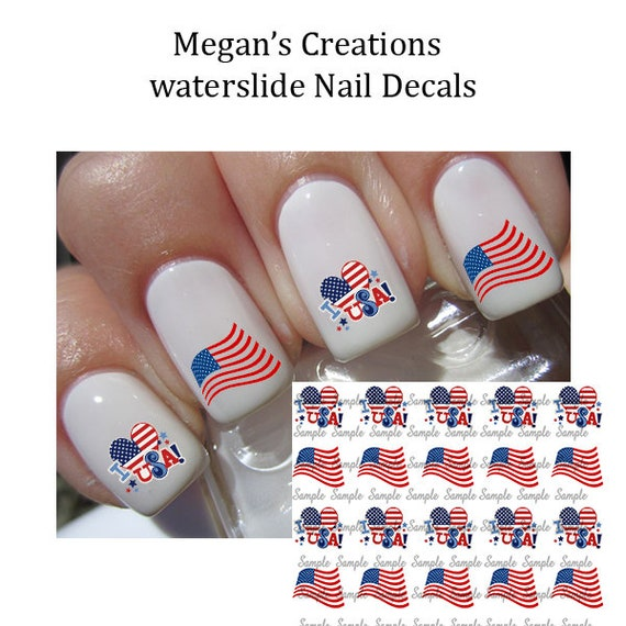4th Of July American Flag Nail Art Decals Etsy