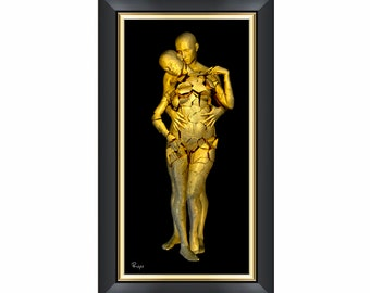 The promise - Surreal Conceptual 3D Digital Fine Art Print - Gold and Black