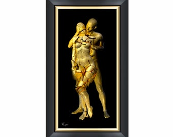 Oppressed -Surreal Conceptual 3D Digital Fine Art Print - Gold and Black