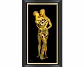 Commitment - Surreal Conceptual 3D Digital Fine Art Print - Gold and Black