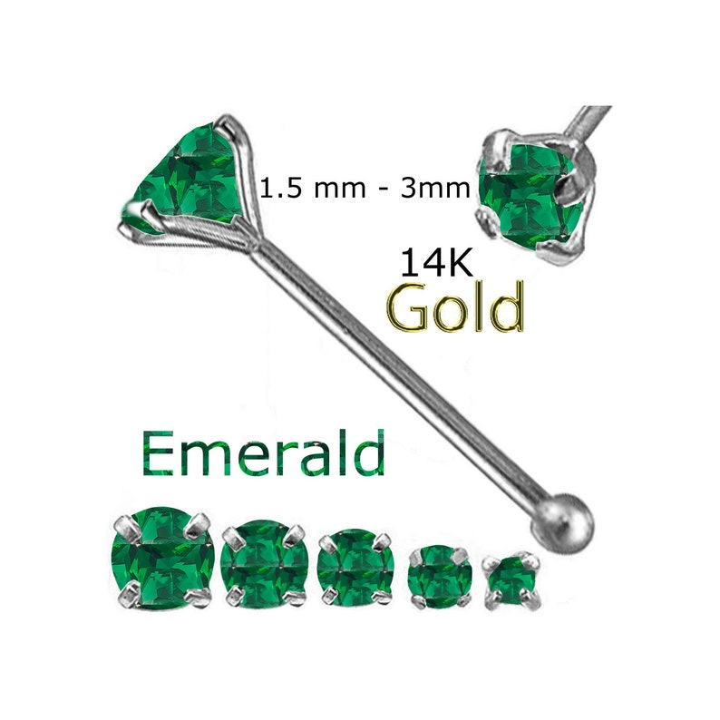 14K Solid white Gold 1.5mm-2.5mm Round Emerald  22g 14 Nose BONE Made in USA