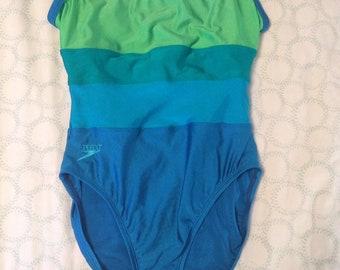 f4cf484c1f385 Vintage 90s Speedo One Piece Blue Green Striped Color Block Medium