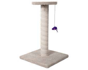Beige Free Standing Scratching Post - The Tower - Scratcher, Cat Tree, Kitten, No Sisal, Innovative Scratching Straps, Durable, Indoor