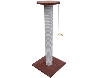 100cm Brown Giant Cat Scratching Post - Extra Large Tall Scratcher + Seat on Top XL