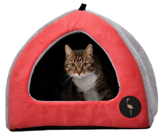 Handmade 50 x 50cm Purple /& Grey UK Pet Cat Puppy Dog Igloo Bed House Pyramid Sofa Cave 2 Sizes