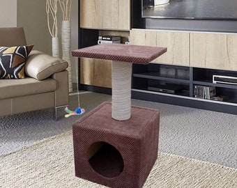 Brown Cat Scratching Box House - The Cube - Three in one - Cat Cave + Scratching Post + Bed