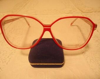 4c6539e449b7d Vintage Oversized Designer Optiline France Red Eyeglass Frames Retro NOS  Lot 461